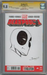 Deadpool #1 Blank  CGC 9.8 Signature Series Signed Mark Bagley Sketch Marvel comic book